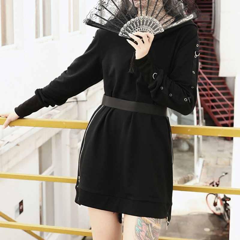 Sudadera con capucha gótica de gran tamaño para mujer con capucha suelta negra sudadera de manga larga Goth Casual estilo Punk Kpop 2019 invierno caliente