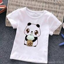 Adorável crianças t camisa dos desenhos animados panda gráfico tees bonito leite chá impresso bebê meninos meninas crianças roupas da criança