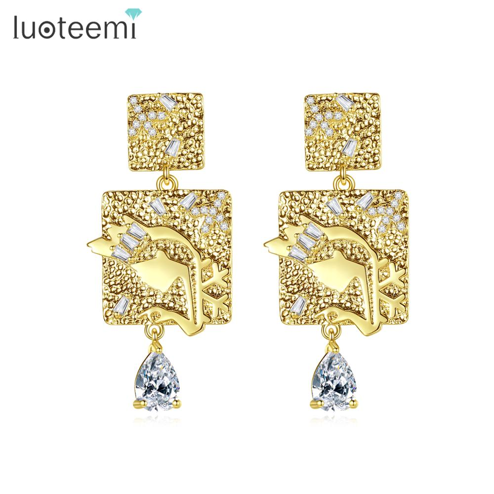 LUOTEEMI European Design AAA Clear Cubic Zirconia Gold Color Stud Earrings For Women Bijoux Square Fashion Jewelry Brincos