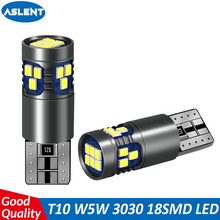 ASLENT T10 W5W Led Bulb Super Bright 18SMD 2016 Chips 168 194 Turn Singal Light Car Accessories Clearance Lights 6000K Auto 12V