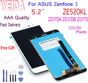 WEIDA 5.2For ASUS Zenfone 3 ZE520KL Z017DA Z017DB Z017D LCD Display Touch Screen Digitizer Assembly +Frame With Tools ZE 520KL weida for asus zenfone 2 laser ze500kl z00ed lcd display touch screen digitizer assembly 5 0 inch with frame tool