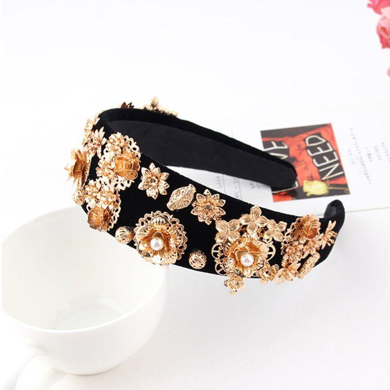 Women Luxury Heavy Duty Baroque Headband Gold Alloy Flower Rhinestone Hair Hoop 449F