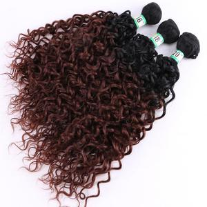 Image 3 - Fsrhair preto a marrom onda de água tecer cabelo 210 grama/lote ombre pacotes de cabelo sintético