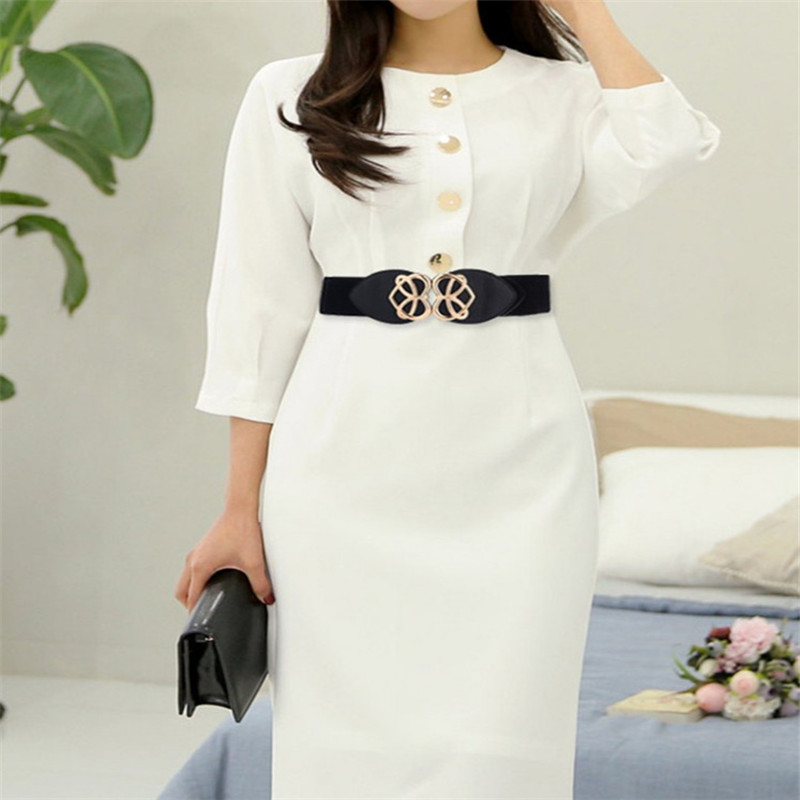 Women Stretch Elasticated Waist Belt Gold Buckle Wide Belt Love Heart Buckle Dress Decorative Waist Seal Waistband