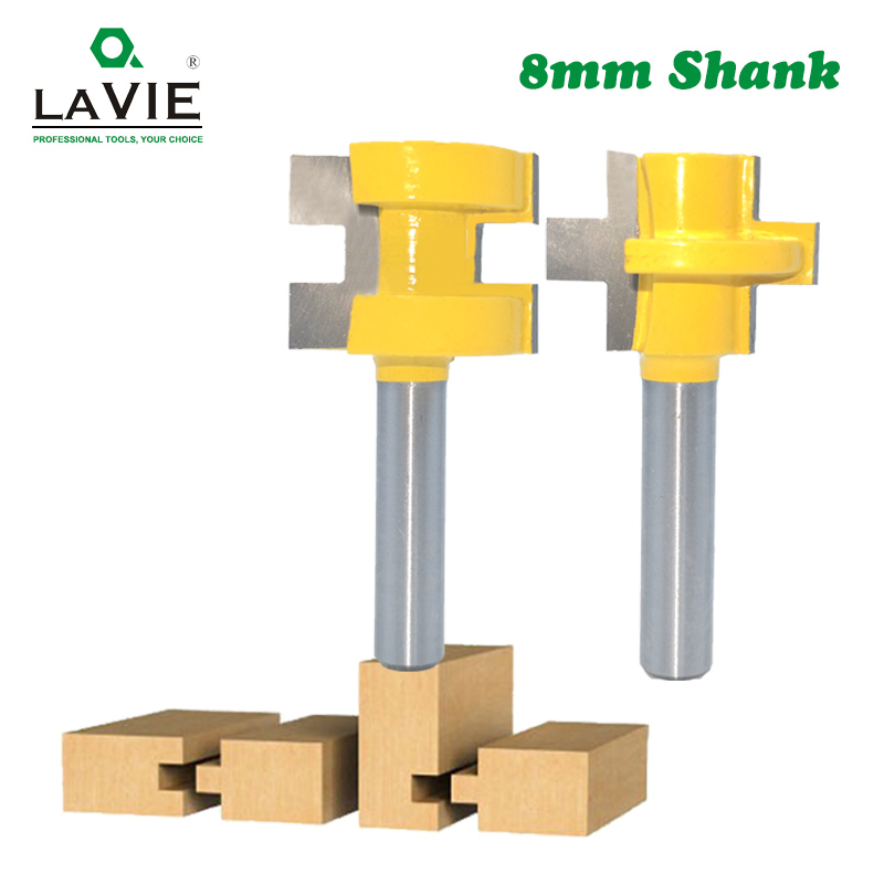 LA VIE 2pcs 8MM Shank T-Slot Square Tooth Tenon Milling Cutter Carving Knife Router Bits For Wood Tool Woodworking MC02140