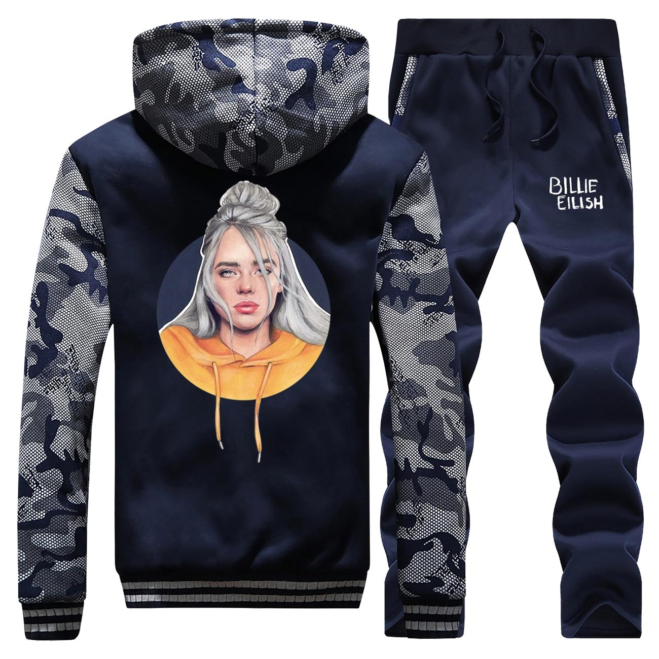 Billie Eilish Hoodie Pant Set Men Fashion Bad Guy Tracksuit Coat Kpop Streetwear Sportswear Winter Thick Jacket Camo 2 PCS Suit