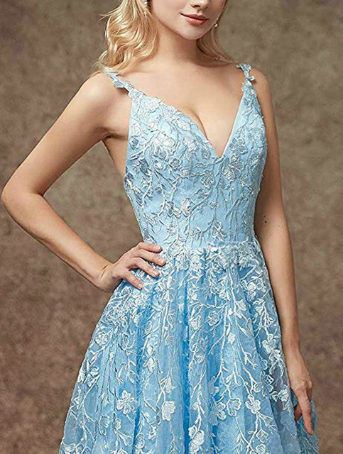 Women's Spaghetti Strap, V Neck, Backless, Long Evening Dress