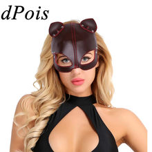 DPOIS Women Mens Mask PU Leather Half Face Fox Masks & Ears Blindfold Eye Cover Lingerie Cosplay Costume Steampunk Accessories(China)