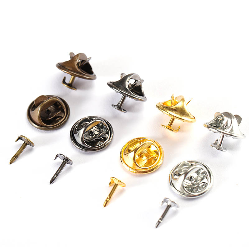 50Sets/lot Squeeze Badge Holder Butterfly Clasp Pin Back Brooch Clutch Care Cap Nail Tie Back Stoppers Rhodium Jewelry Findings