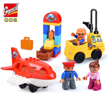 Legoingly Mini City Airport Children Building Blocks Big Size Educational Bricks Toy For Kid Gift Toy Compatible With Duploe стоимость