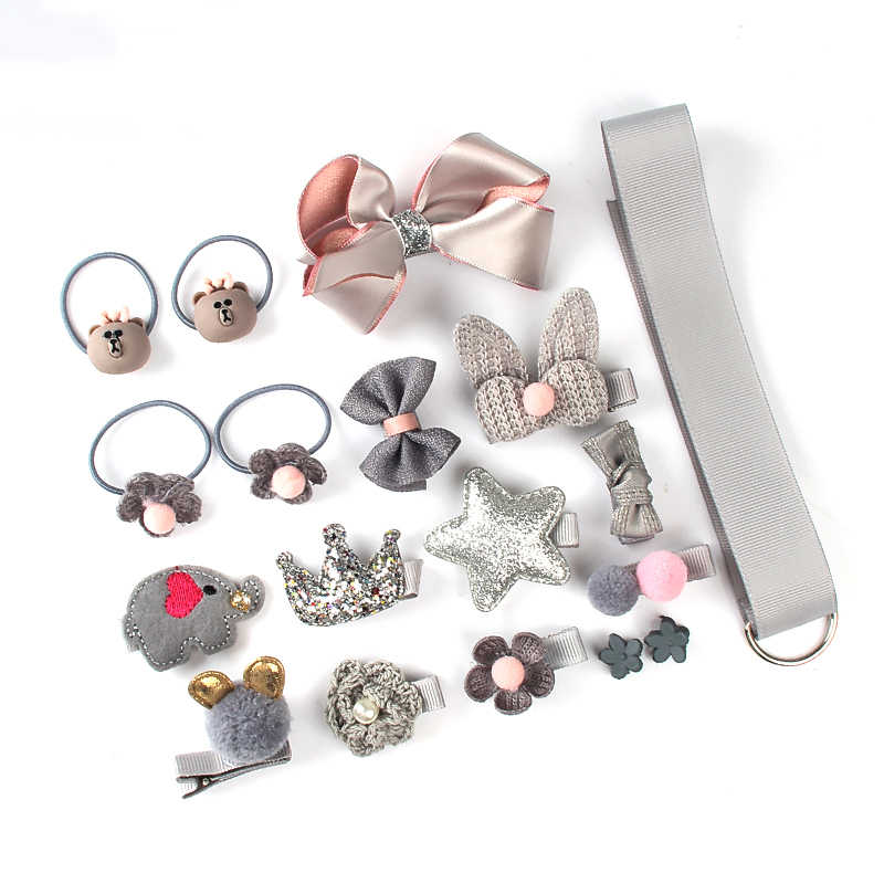18 PCS ชุดคลิปผมอุปกรณ์เสริมผมน่ารักสาวการ์ตูนผมคลิป Headwear โบว์ดอกไม้ Hairpin แหวนผมยืดหยุ่น headdress