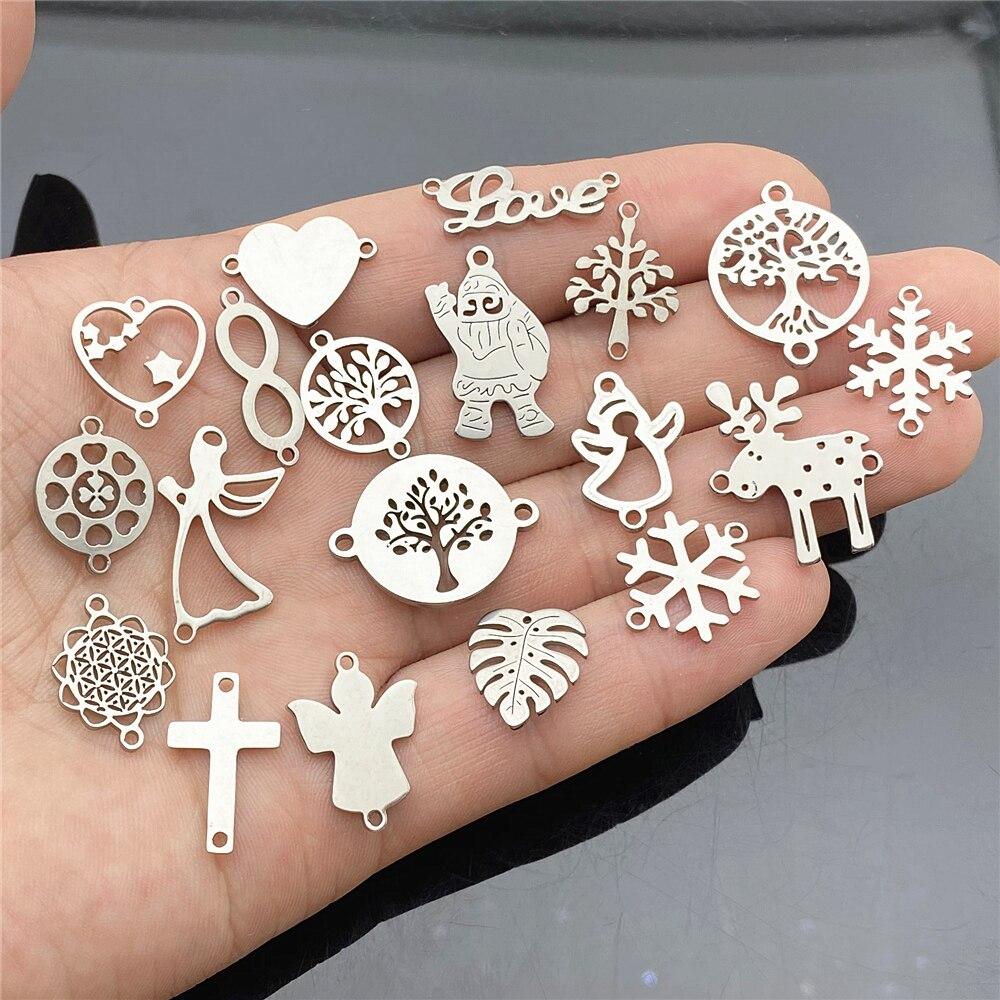 Смешанные рождественские амулеты из нержавеющей стали, сделай сам, подарок на любовь, соединитель браслета, снежинка, крест, ангел, ручная р...