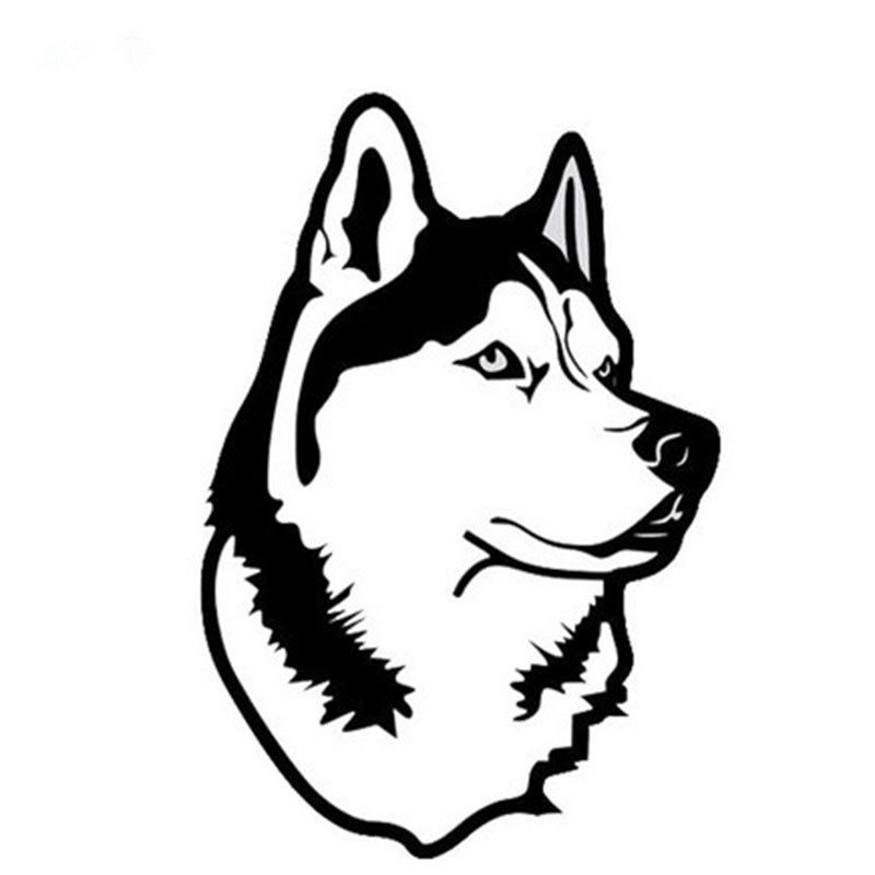14.5*10cm Car Styling Husky Dog Glue Sticker Auto Motorcycle Decor Decal For BMW X5 E36 E46 Mazda <font><b>Rx8</b></font> LADA Granta Nissan Note image