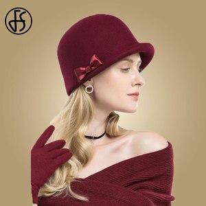 Image 3 - Дамская фетровая шляпка «колокол» FS, шляпа «котелок» из 100% шерсти, с загнутыми полями и декоративным бантом, для церкви, черная, зимняя, 2019
