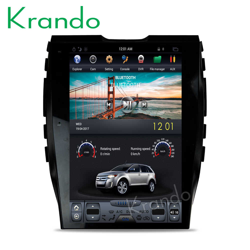 "Krando Android 9.0 12.1 ""Tesla Verticale Screen Autoradio Gps Navigatie Voor Ford Edge 2015 + Multimedia Entertainment Systeem OBD2"