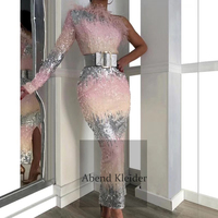 Custom Made One Shoulder Arabic Dubai Evening Dresses 2020 with Feather Ankle Length Party Dress For Middle East Women 2019