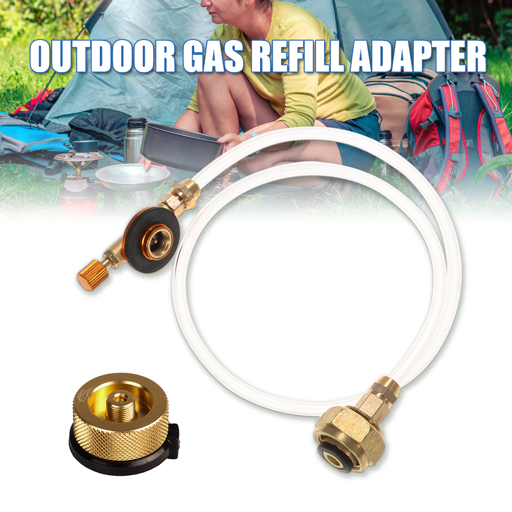Outdoor Gas Stove Refill Adapter Propane Refill Burner Adapter LPG Flat Cylinder Tank Coupler Gas Conversion Adapter Tool