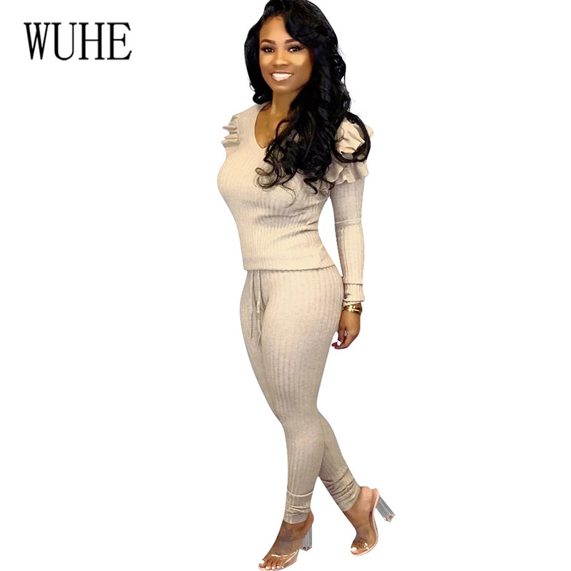 WUHE Sexy Pit Pencil Playsuits Women 2 Pieces Sets Long Sleeve V-neck Ruffles Elegant Femme Jumpsuits Casual Rompers for Ladies