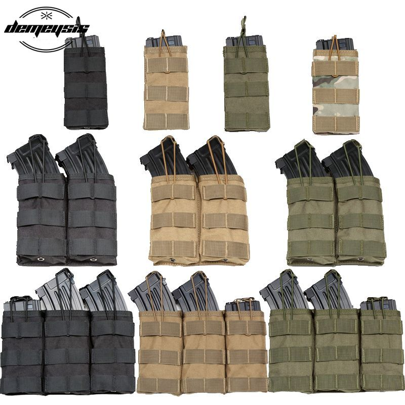 Tactical AK AR <font><b>M4</b></font> AR15 Rifle Pistol Mag Pouch Hunting Shooting Airsoft Paintball Single Double Triple <font><b>Magazine</b></font> Pouches image