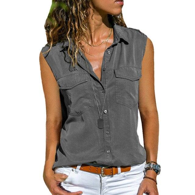 2021 Summer Casual Blouse Women Top And Blouse Women Shirt Sleeveless Button Pocket Black Solid Turn-down Collar Shirt 3