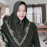 Muslim ladies headscarf Malaysia chiffon embroidered sets of female shawls Hui nationality hijab long towel multicolor hijab