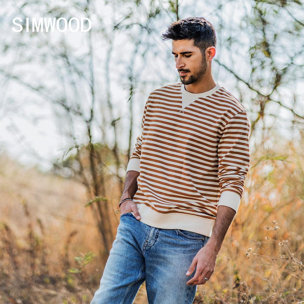 SIMWOOD 2020 Spring New Hoodies Men Striped Fashion O-neck Sweatshirt men jogger casual plus size  tracksuits SJ130155
