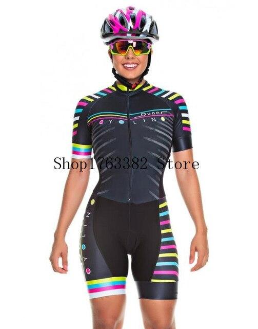 2019 pro equipe triathlon terno feminino camisa de ciclismo skinsuit macacão maillot ciclismo roupas ropa ciclismo conjunto rosa almofada gel 6