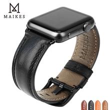 MAIKES 정품 가죽 시계 밴드 애플 시계 44mm 42mm 40mm 38mm 시리즈 4/3/2/1 남자 & 여자 iWatch 스트랩 시계 밴드