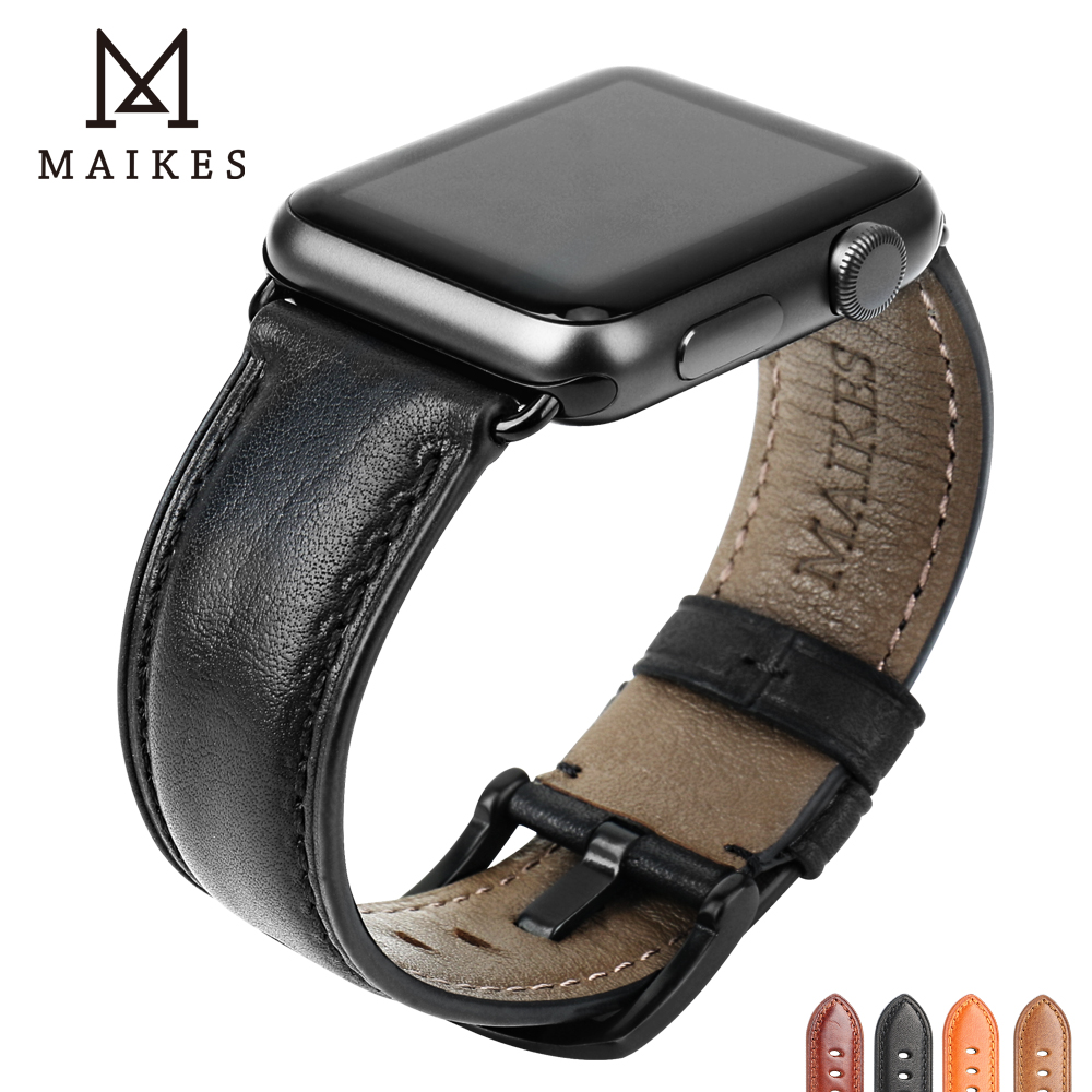 MAIKES Genuine Leather Watch Band For Apple Watch 44mm 42mm 40mm 38mm Series 4/3/2/1 Men & Women IWatch Strap Watchband