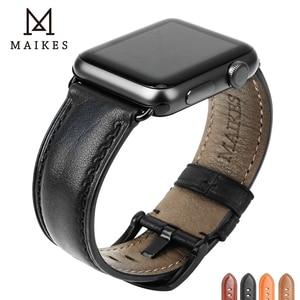 Image 1 - MAIKES hakiki deri saat kayışı Apple Watch için 44mm 42mm 40mm 38mm serisi 4/3/2/1 erkekler & kadınlar iWatch kayış Watchband