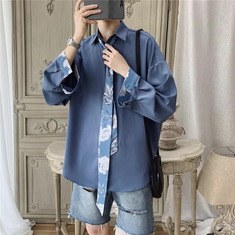 Autumn New Dress Shirt Men Fashion Social Men Shirt Solid Color Business Casual Shirt Man Loose Long-sleeved Shirt To Send A Tie