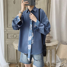 Autumn New Dress Shirt Men Fashion Social Solid Color Business Casual Man Loose Long-sleeved To Send A Tie
