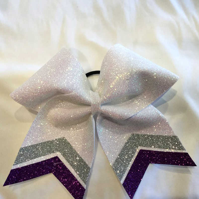 7 inch White Glitter Cheer Bow Tails Gold/Black Available in MANY Colors please ask Cheerleader bows Personalized hair bows