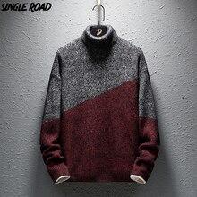 Singload sweter z golfem mężczyzn 2019 nowe zimowe ubrania swetry na szyję swetry męskie luźna moda ciepłe Colorblock dzianiny