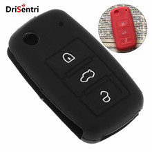 3 Buttons Silicone Flip Folding Car key Cover Protector Holder for -VW-Polo-Passat B5 -Golf 4 5 6 -Jetta Mk6 -Tiguan 3 buttons silicone car key cover case for vw golf 4 5 6 7 bora jetta polo mk4 mk6 bora passat b5 b6 superb tiguan beetle