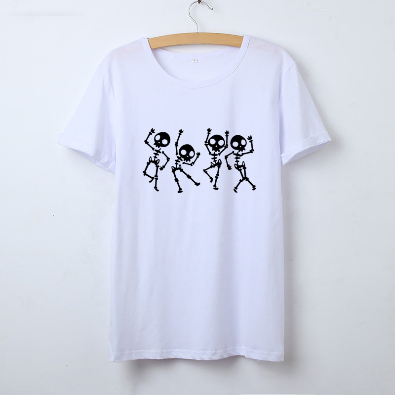 2019 skull pattern T Shirt Women Summer O-Neck Casual Print Tops Women Cotton Short Sleeve Funny Tshirt Female Harajuku