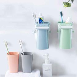Toothbrush Holder and Cup Set Wall-mounted Gargle Tools Organizer Mouthwash Cup Suction Toothbrush Cup