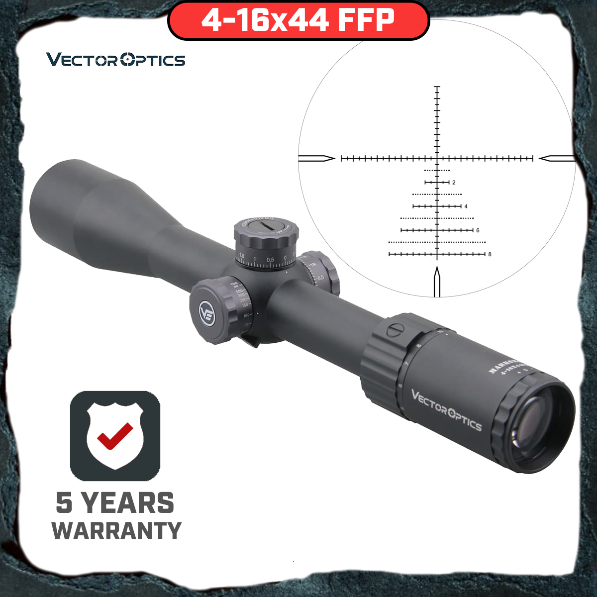 Vector Optics Marksman 4-16x44 FFP Tactical Riflescope 1/10 MIL Rifle Scope 30mm Monotube For Sniper Target Shooting Hunting