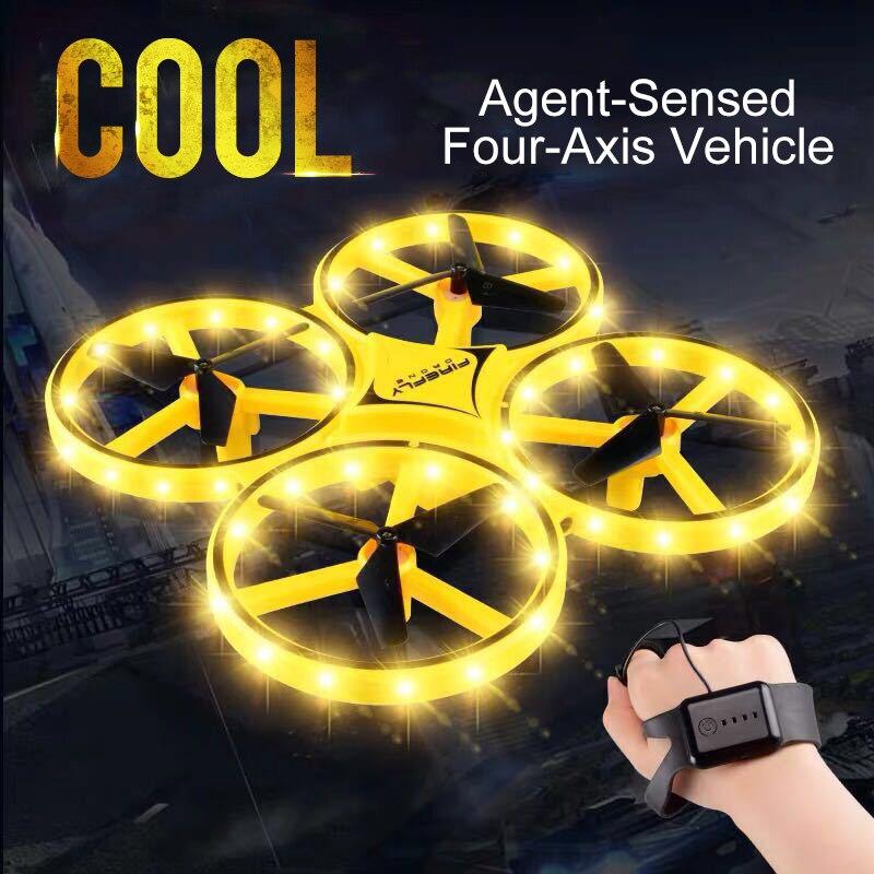 Mini drone indução quadcopter inteligente relógio de detecção remoto gesto aeronaves uav somatosensory interação noturna