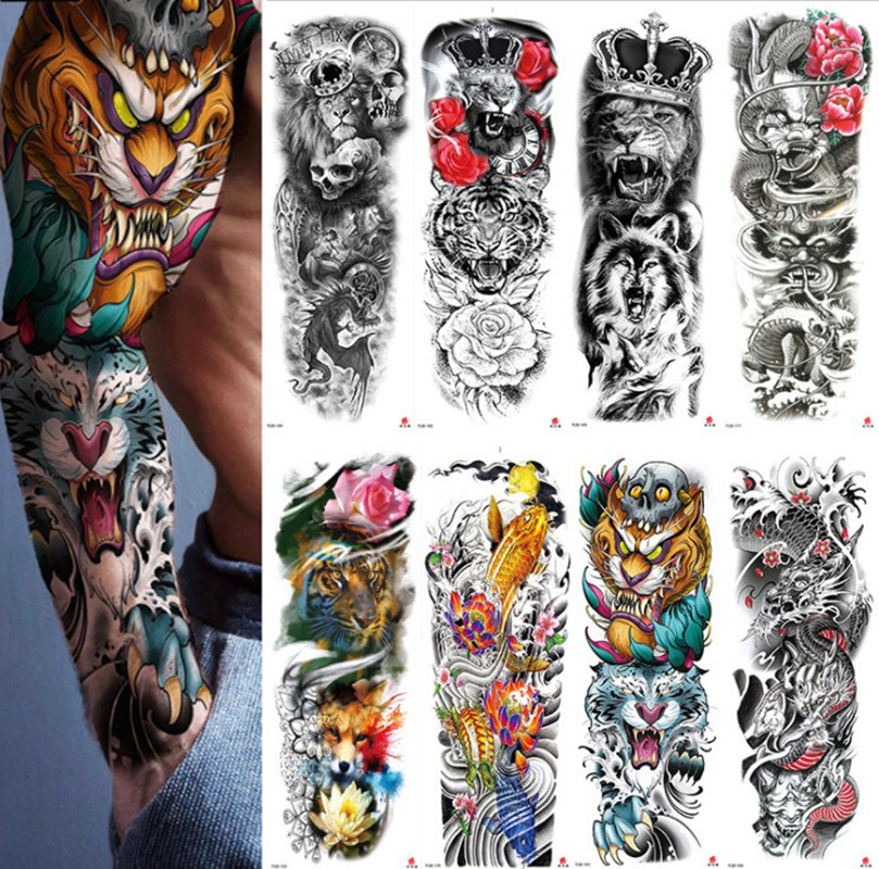 2020 Waterproof Temporary Tattoo Sticker Full Arm Large Skull Old School Tatoo Stickers Fake Tattoos For Men Women New Arrival