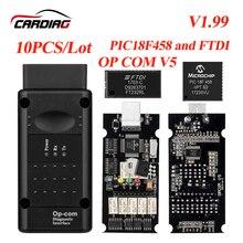 10 Stks/partij Opcom V1.99/V1.78/V1.7/V1.65 Op Com Kan OBD2 Voor Opel Firmware Op Com kan Bus Interface Obd2 Diagnostic Tool Dhl Schip
