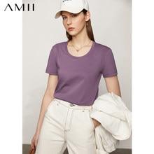Amii minimalisme printemps eté femme t-shirt casual solide Oneck femelle t-shirt basique en coton femmes t-shirt hauts 12120270