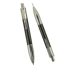 ACMECN 2 قطعة/الوحدة الإبداعية دفع الكتابة القرطاسية مجموعات ألياف الكربون قلم حبر جاف و 0.7 مللي متر الميكانيكية قلم رصاص التوأم القلم مجموعة
