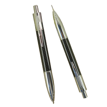 ACMECN 2pcs / lot  Creative Propelling Writing Stationery Sets Carbon fiber Ballpoint Pen & 0.7mm Mechanical Pencil Twin Pen Set