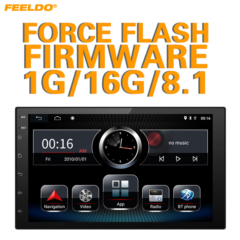FEELDO Ultra Slim 7inch Android 8.1 Quad Core Car Media Player With Navi/radio/RDS For ISO Universal 2DIN Car Installation #3153