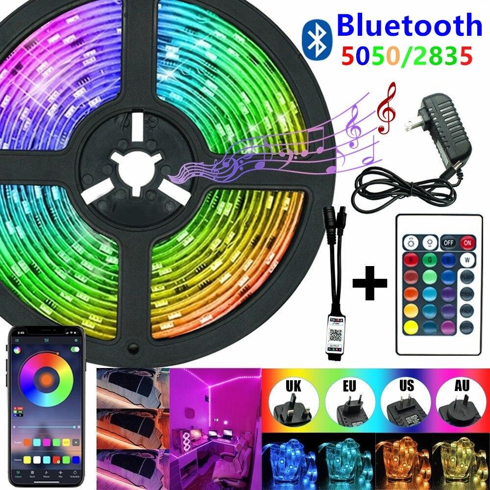 5050 LED Strip sterowanie Bluetooth 2835 5050 RGB Led wodoodporne elastyczne lampki Led do domu salon dekoracja zewnętrzna światła