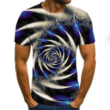 2021 summer vertigo hypnosis 3D printed T-shirt short-sleeved compression men's and women's party hip-hop top 110/6XL