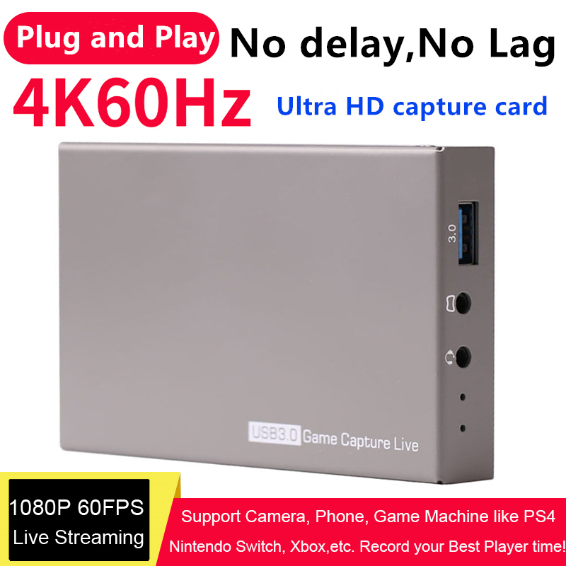 USB3.0 4K 60Hz Video Capture Card HDMI To USB 3.0 Dongle Game Streaming Live Stream Broadcast With MIC 3.5mm Gamepad Audio Input