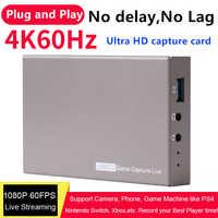 USB3.0 4K 60Hz Video Capture Card HDMI zu USB 3.0 Dongle Spiel Streaming Live-Stream Übertragen mit MIC 3,5mm Gamepad Audio eingang