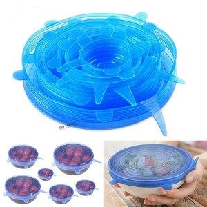 ¡Oferta! Set de 6 tapas elásticas reutilizables de silicona, tapa Universal, tapa de silicona para comida, tapa para olla, tapa de silicona, sartén para Cocina
